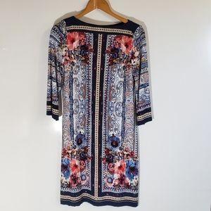 Beige x ECI Navy Floral Paisley Trellis Dress